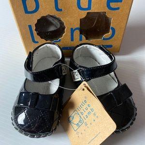 Little blue lamb patent leather girls shoes 11.5cm